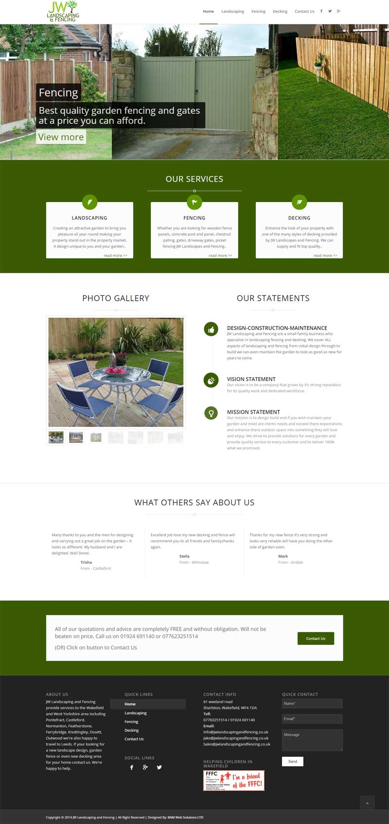 Bam Web Solutions Landscaping Fencing Website